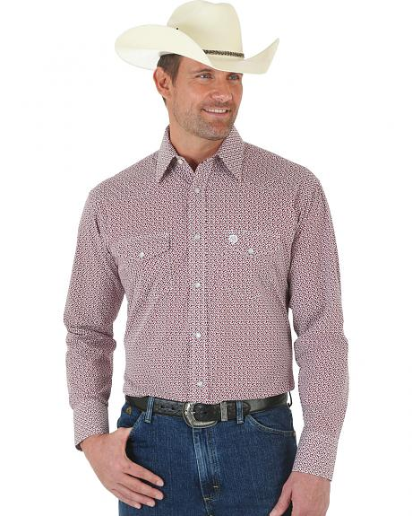 Wrangler George Strait Red and White Poplin Snap Shirt - Tall