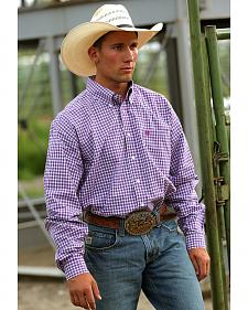 C?inch Men's Purple Plaid Button Long Sleeve Shirt - XXXL