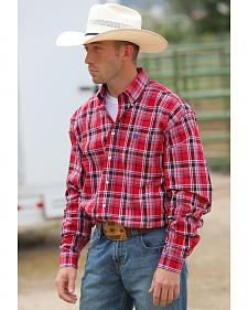 Cinch Men's Red Plaid Button Long Sleeve Shirt - 3XL