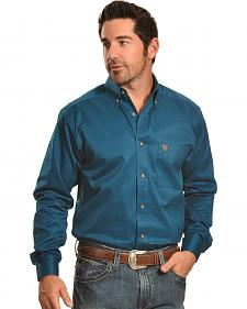 Ariat Men's Solid Blue Twill Western Shirt - Big & Tall