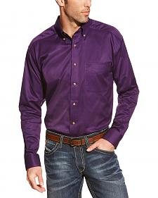 Ariat Men's Purple Solid Twill Western Shirt - Big & Tall