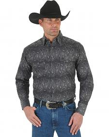 Wrangler George Strait Troubadour Stripe Western Shirt - Big and Tall