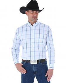 Wrangler George Strait Windowpane Plaid Western Shirt - Big and Tall