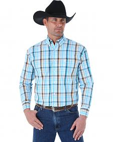 Wrangler George Strait Men's Turquoise and Brown Plaid Western Shirt - Big and Tall