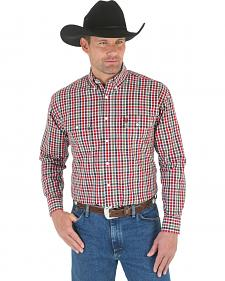 Wrangler George Strait Men's Green, Red, and Navy Plaid Western Shirt - Big and Tall