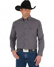 Wrangler George Strait Men's Wine Plaid Shirt - Big & Tall