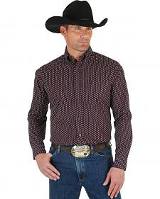 Wrangler George Strait Men's Burgundy Dot Shirt - Big & Tall