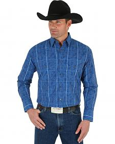 Wrangler George Strait Men's Blue Plaid Shirt - Big & Tall