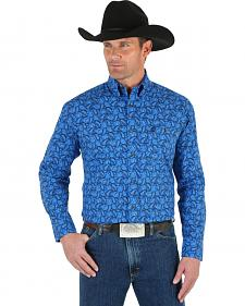 Wrangler George Strait Men's Blue Paisley Shirt - Big & Tall