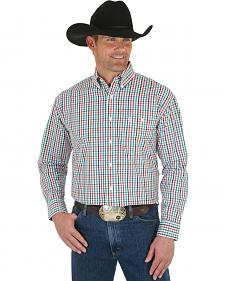 Wrangler George Strait Men's Emerald & White Plaid Shirt - Big & Tall