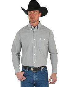 Wrangler George Strait Men's Black & White Stripe Shirt - Big & Tall