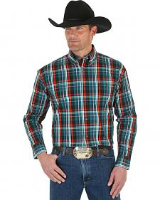 Wrangler George Strait Men's Emerald Plaid Shirt - Big & Tall