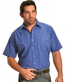 Ely Walker Men's Blue Short Sleeve Western Shirt - Big & Tall