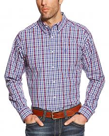 Ariat Men's Blue Plaid Pro Series Jedd Performance Shirt - Big & Tall