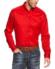 Ariat Men's Red Twill Western Shirt - Big & Tall