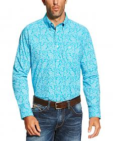 Ariat Men's Turquoise Livingston Print Shirt - Big and Tall