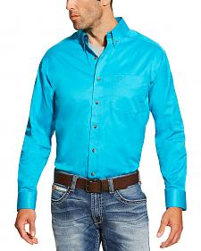 Ariat Men's Turquoise Solid Twill Shirt - Big and Tall