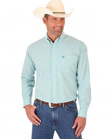Wrangler Men's Aqua George Strait Long Sleeve Shirt - Big and Tall