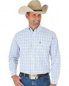 Wrangler George Strait Purple & White Plaid Western Shirt - Big and Tall