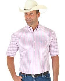 Wrangler George Strait Men's Pink Plaid Short Sleeve Shirt - Big & Tall