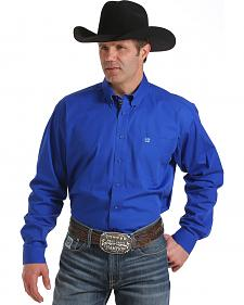 Cinch Men's Royal Blue Long Sleeve Western Shirt - Big and Tall