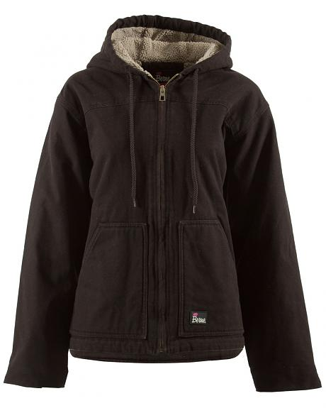 Berne Women's Washed Sherpa-Lined Hooded Coat - Tall