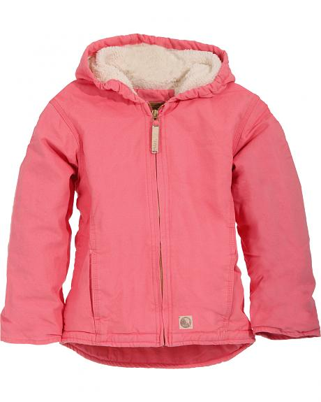 Berne Youth Girls' Washed Sherpa-Lined Hooded Jacket