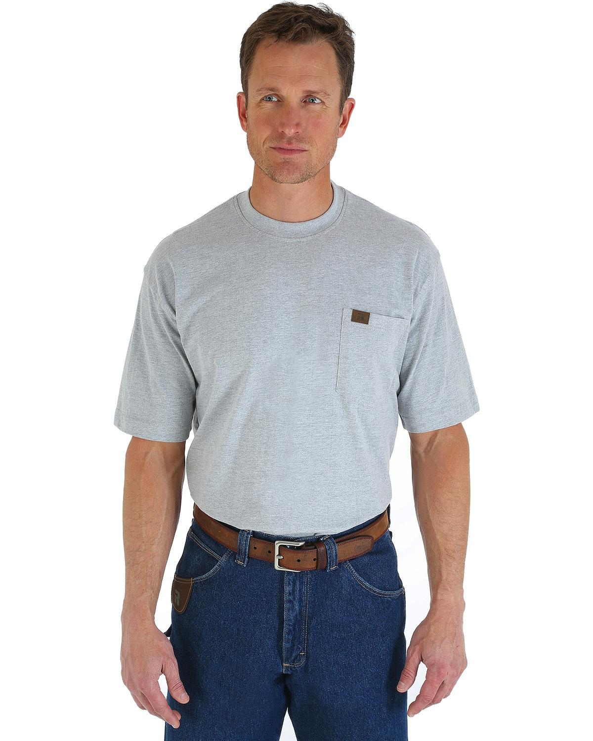 Wrangler men 39 s riggs short sleeve pocket t shirt big and for Big and tall polo shirts with pockets