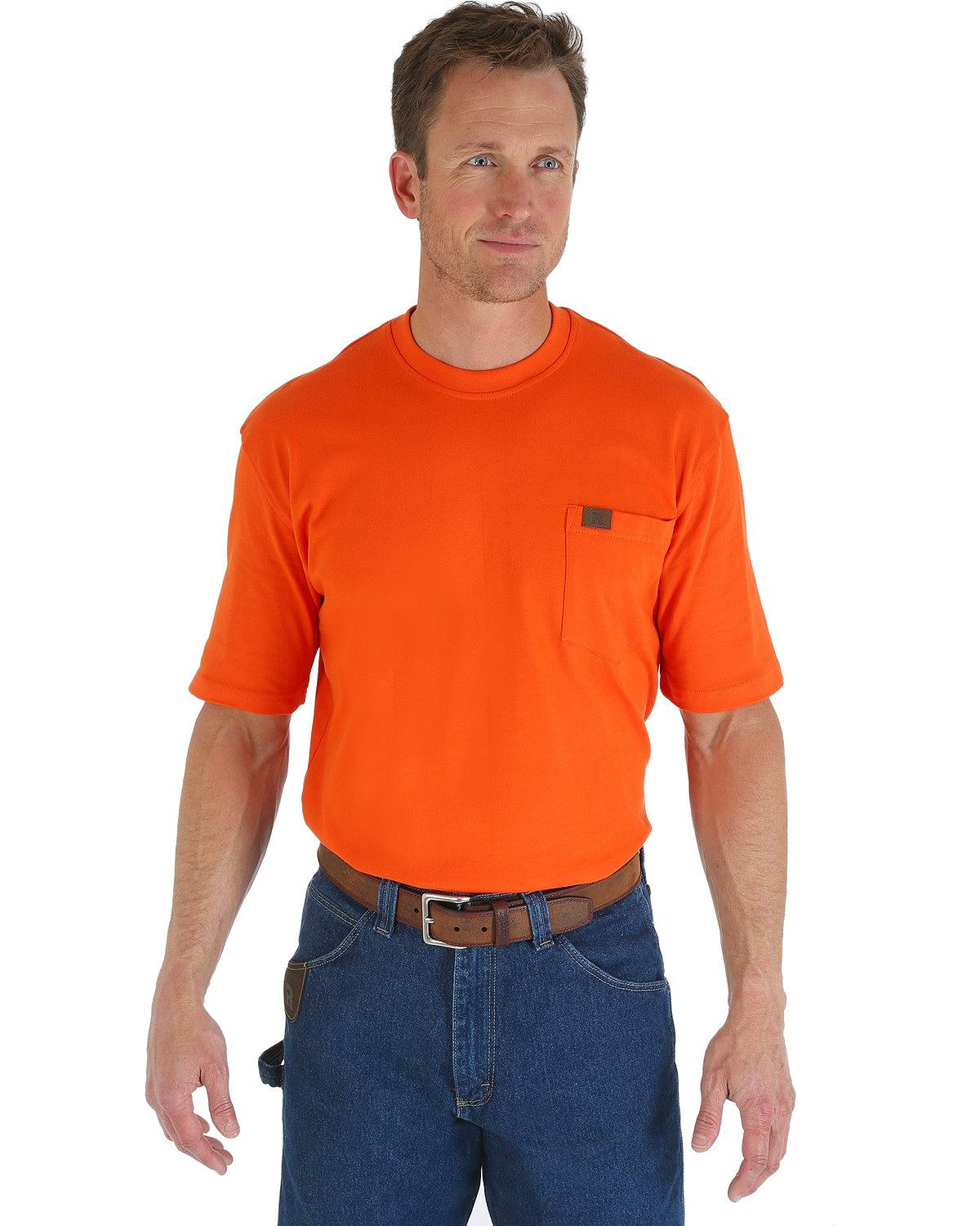 Wrangler men 39 s riggs short sleeve pocket t shirt big and for T shirt for tall man