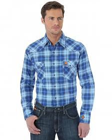 Wrangler Western Blue Plaid Flame Resistant Work Shirt