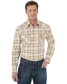 Wrangler Western Khaki Plaid Flame Resistant Work Shirt