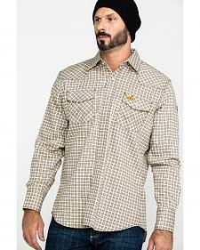 Wrangler Khaki and White Plaid Flame Resistant Western Work Shirt