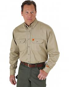 Wrangler Riggs Workwear Khaki Flame Resistant Long Sleeve Shirt