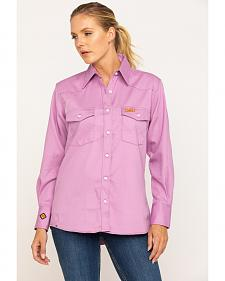 Wrangler Women's Flame-Resistant Long Sleeve Shirt