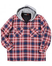 Wrangler Men's Plaid Hooded Quilted Flannel Jacket