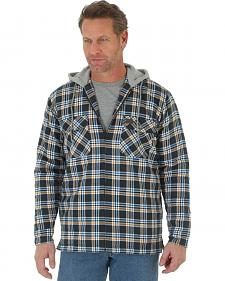 Wrangler Men's Plaid Hooded Quilted Flannel Jacket - Big and Tall