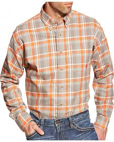 Ariat Men's Orange Plaid Edmund FR Work Shirt