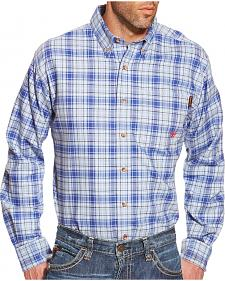 Ariat Men's Blue Plaid Norman FR Work Shirt