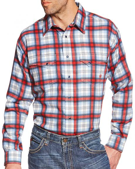 Ariat Men's Light Blue and Red Plaid Ardmore FR Snap Shirt