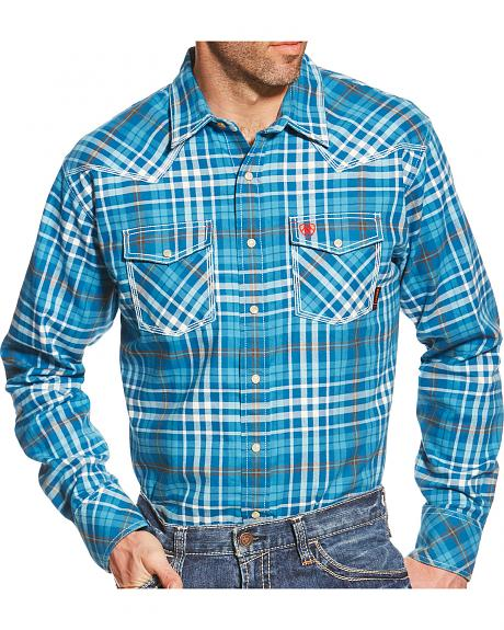 Ariat Men's Turquoise Plaid Toldeo FR Snap Shirt
