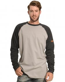 Ariat Men's Black and Grey FR Long Sleeve Baseball T-Shirt
