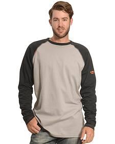 Ariat Men's Black and Grey FR Long Sleeve Baseball T-Shirt