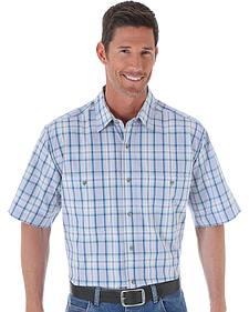 Wrangler Men's Plaid Wrinkle Resist Western Shirt