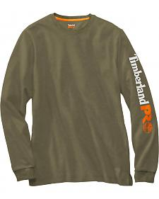 Timberland PRO Men's Olive Base Plate Wicking Logo Long Sleeve T-Shirt