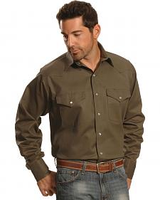 Crazy Cowboy Men's Hunter Green Western Work Shirt - Big & Tall