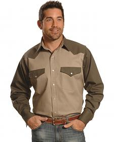Crazy Cowboy Men's Two-Tone Western Work Shirt - Big & Tall