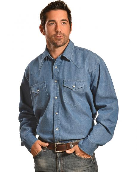 Crazy Cowboy Men's Denim Western Work Shirt