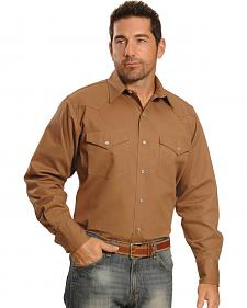 Crazy Cowboy Men's Tan Western Work Shirt