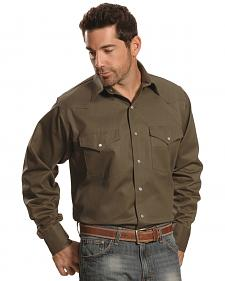 Crazy Cowboy Men's Hunter Green Western Work Shirt