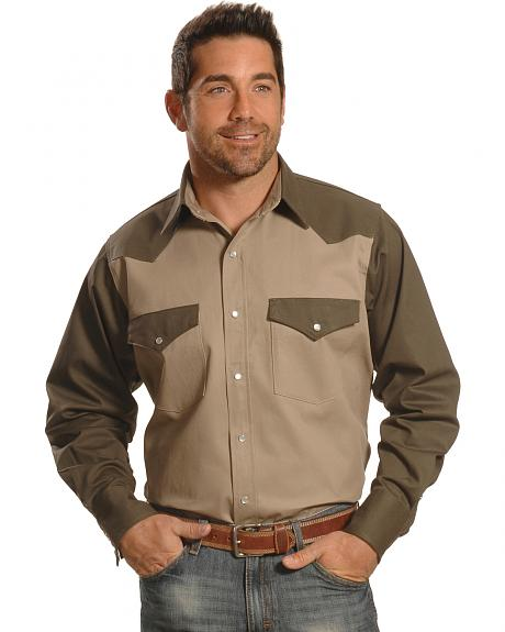 Crazy Cowboy Men's Two-Tone Western Work Shirt